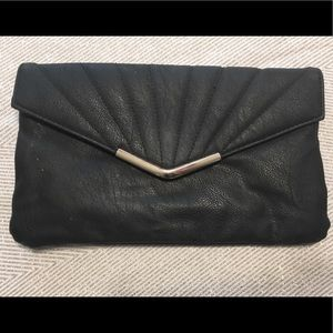 New Look black faux leather clutch